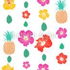 Ananas Und Hibiskus Nahtloses Vektormuster