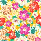 Exotische Ananas Und Hibiskus Nahtloses Vektormuster