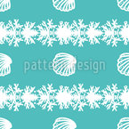 Lined Up Seashells Seamless Vector Pattern Design