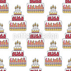 Birthday Cake Seamless Vector Pattern Design