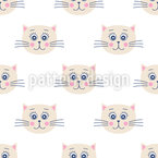 Cute Cat Faces Repeat Pattern
