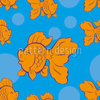 Happy Goldfish Seamless Vector Pattern Design
