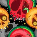 Wassermelonen und Kürbisschädel Nahtloses Vektormuster