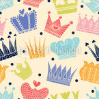 Lovely Crown Seamless Vector Pattern Design