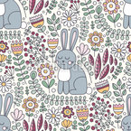 Cute Rabbit Seamless Vector Pattern
