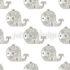 Zentangle Whales Seamless Pattern