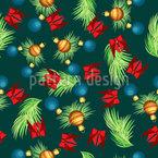Fallende Tannenzweige mit Weihnachtsschmuck Musterdesign