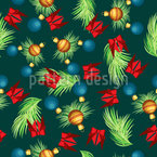 Falling Fir Branches With Christmas Decorations Pattern Design