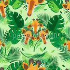Giraffen und Blätter Nahtloses Vektormuster