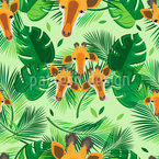 Giraffes And Leaves Seamless Vector Pattern Design
