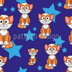 Süße Katzen und Sterne Nahtloses Vektormuster