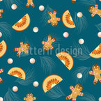 Gingerbread men and mandarins Seamless Vector Pattern Design