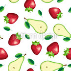 Fruit slices and leafs Seamless Pattern