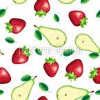 Obst-Scheiben und Blätter Nahtloses Muster