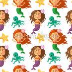 Niedliche Kleine Meerjungfrauen Nahtloses Vektor Muster