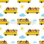 Recorrido en autobús divertido Estampado Vectorial Sin Costura