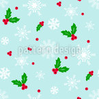 Mistletoe And Snow Seamless Vector Pattern Design