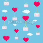 Flying Love Letters Seamless Vector Pattern Design