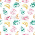Cup of coffee cakes and croissant Seamless Vector Pattern Design