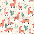 Llamas Felices Estampado Vectorial Sin Costura
