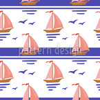 Sailings boats and Seagulls Vector Ornament