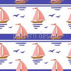 Segelboote und Möwen Vektor Ornament