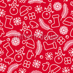 Christmas Contours Seamless Vector Pattern Design