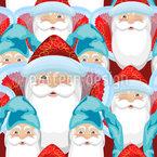 Der Weihnachtsmann und Wichtel Nahtloses Vektormuster