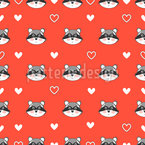 Raccoon And Hearts Pattern Design