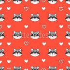 Waschbär Und Herzen Muster Design