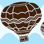 Heißluftballons auf Wellen Nahtloses Vektormuster