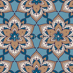 Stylized Curlicue Flowers Repeat Pattern