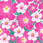 Hibiscus Blooming Seamless Vector Pattern Design