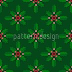Traditional Holly Seamless Vector Pattern