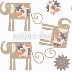 Blumen-Elefanten Vektor Ornament