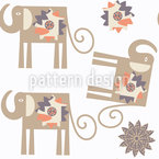 Flower-Elephants Vector Ornament