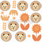 Lions in Savannah Seamless Pattern