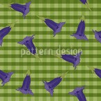 Gentian On Checks Seamless Vector Pattern Design