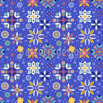 Cool Floral Snowflake Seamless Pattern