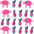 Elephants And Pineapples Seamless Vector Pattern