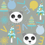Panda In Winter Vector Pattern