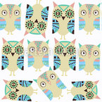Hypnotized Owls Vector Ornament