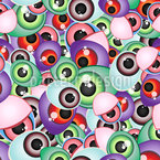 Creepy Monster Eyes Seamless Vector Pattern Design