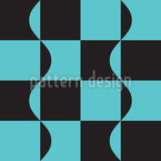 Combination of Squares And Wavy Lines Vector Pattern