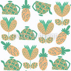 Tea And Pineapples Seamless Vector Pattern Design