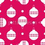 Polka Dot Christmas Tree Baubles Seamless Vector Pattern Design