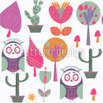 Owls And Plants Pattern Design