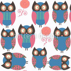 Owls With Flowers Seamless Pattern