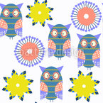Owls With Suns Seamless Vector Pattern