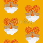 Lamas on Valentines Day Seamless Vector Pattern